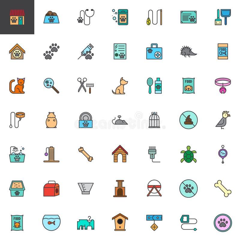 Les accessoires de magasin de bêtes ont rempli icônes d'ensemble réglées illustration stock