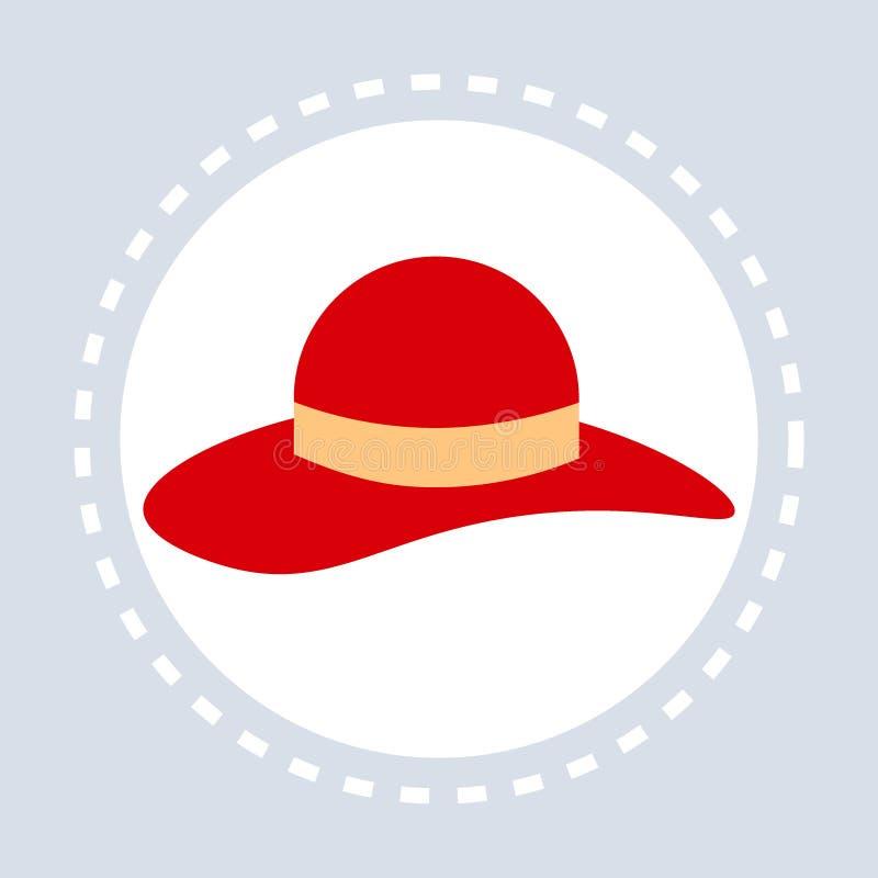 Les accessoires de mode élégants rouges d'icône d'achats de chapeau de femmes font des emplettes appartement de logo illustration stock