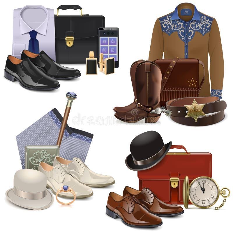 Les accessoires de mode masculins de vecteur ont placé 2 illustration stock
