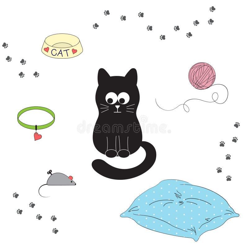 Les accessoires du chat illustration stock