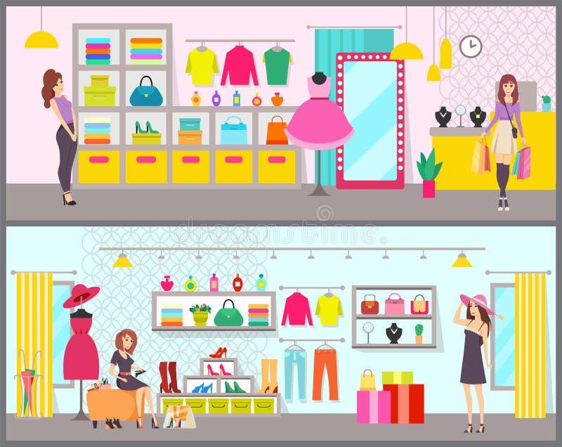 Les achats de femme dans la marque vêtent le vecteur de boutique illustration de vecteur