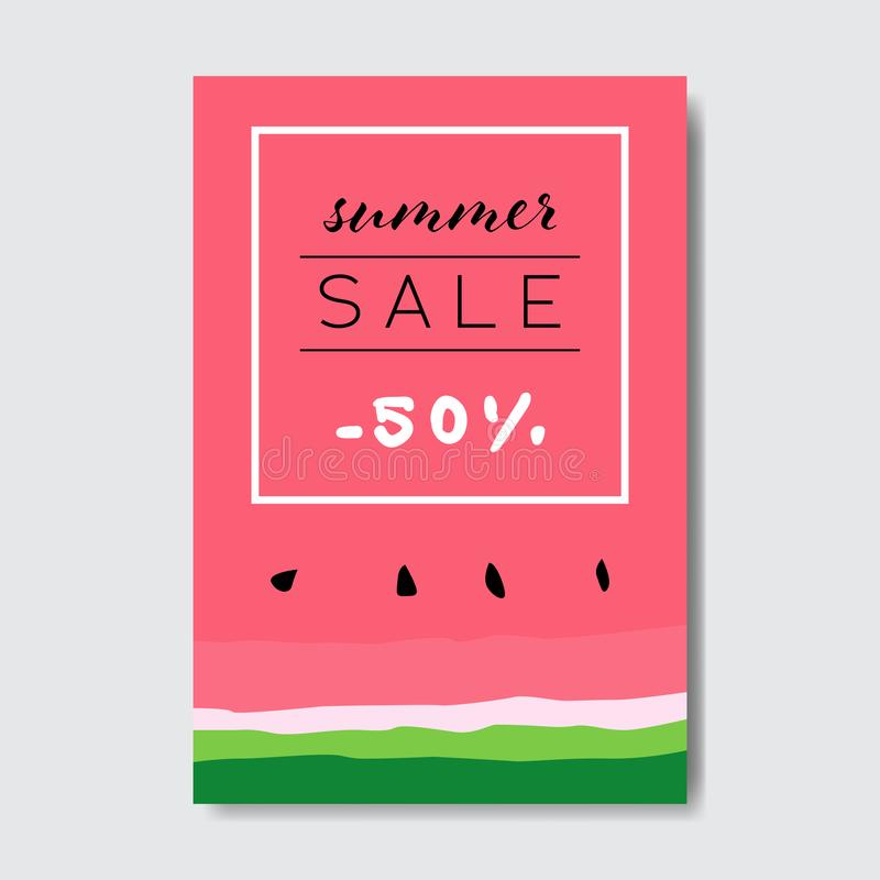 Les achats de saison de label de conception d'insigne de lettrage de pastèque de vente d'été pour la carte de voeux d'invitation  illustration libre de droits