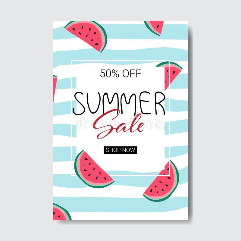 Les achats de saison de label de conception d'insigne de lettrage de pastèque de vente d'été pour la carte de voeux d'invitation  illustration stock