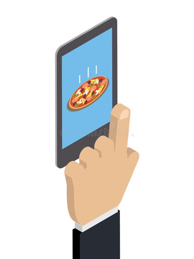 Les achats du téléphone, nourriture, Caucasien de main de pizza achète un piz illustration libre de droits