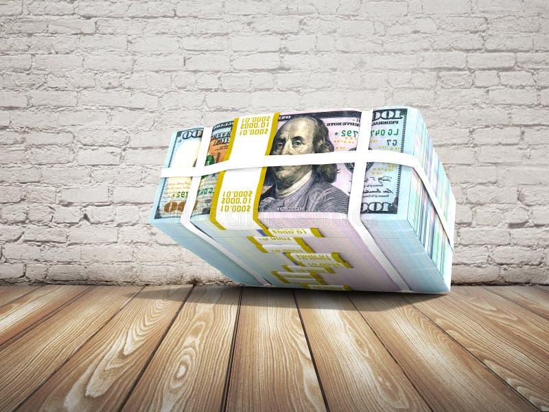 Les actions modernes des dollars sont tombées de au-dessus du rendu 3d sur une brique illustration de vecteur