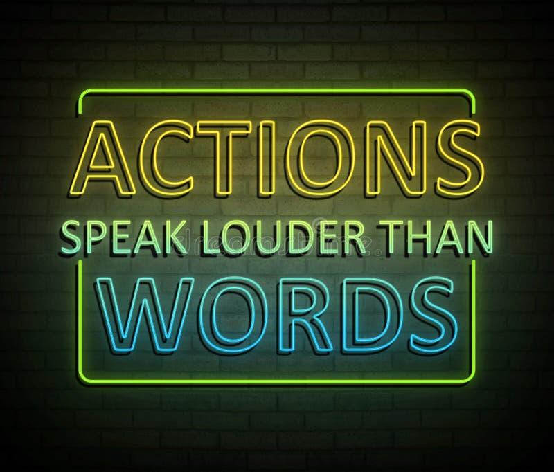 Les actions parlent plus fort que des mots illustration de vecteur