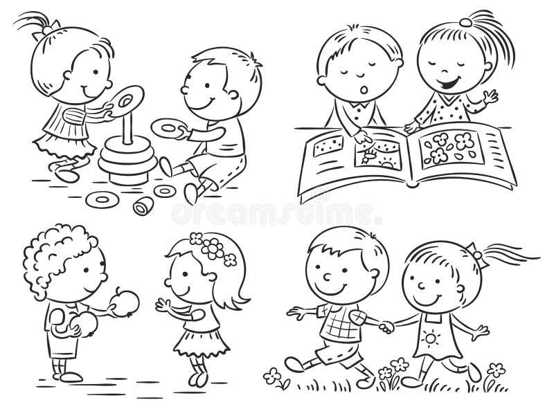 Les activités des enfants réglées, noir et blanc illustration libre de droits