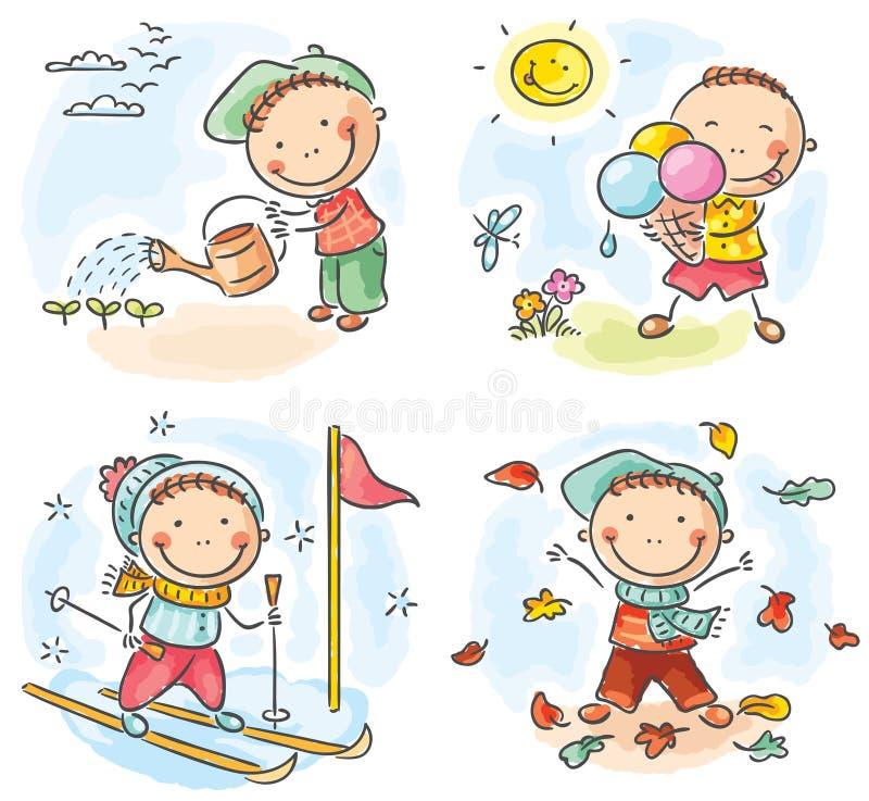 Les activités du garçon pendant les quatre saisons illustration de vecteur