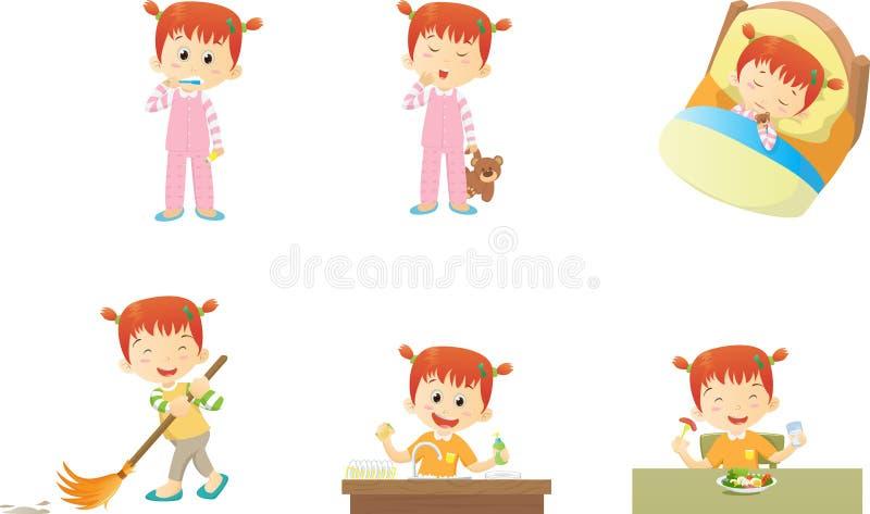 Les activités mignonnes de petite fille à la maison et dorment beaucoup action illustration libre de droits