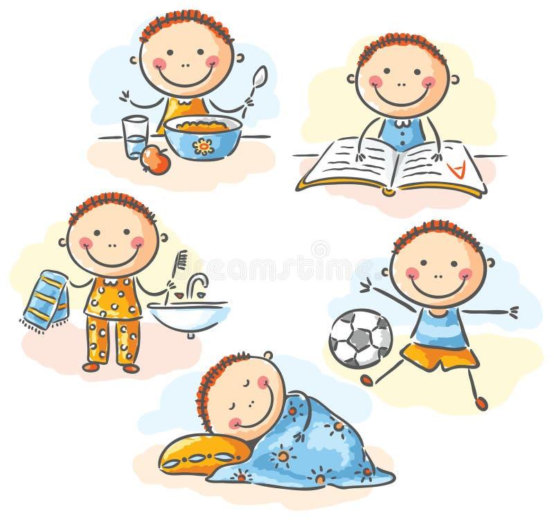 Les activités quotidiennes de petit garçon illustration stock