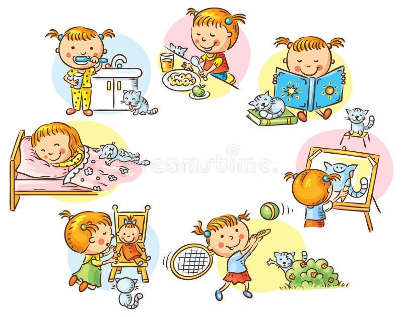 Les activités quotidiennes de petite fille illustration de vecteur