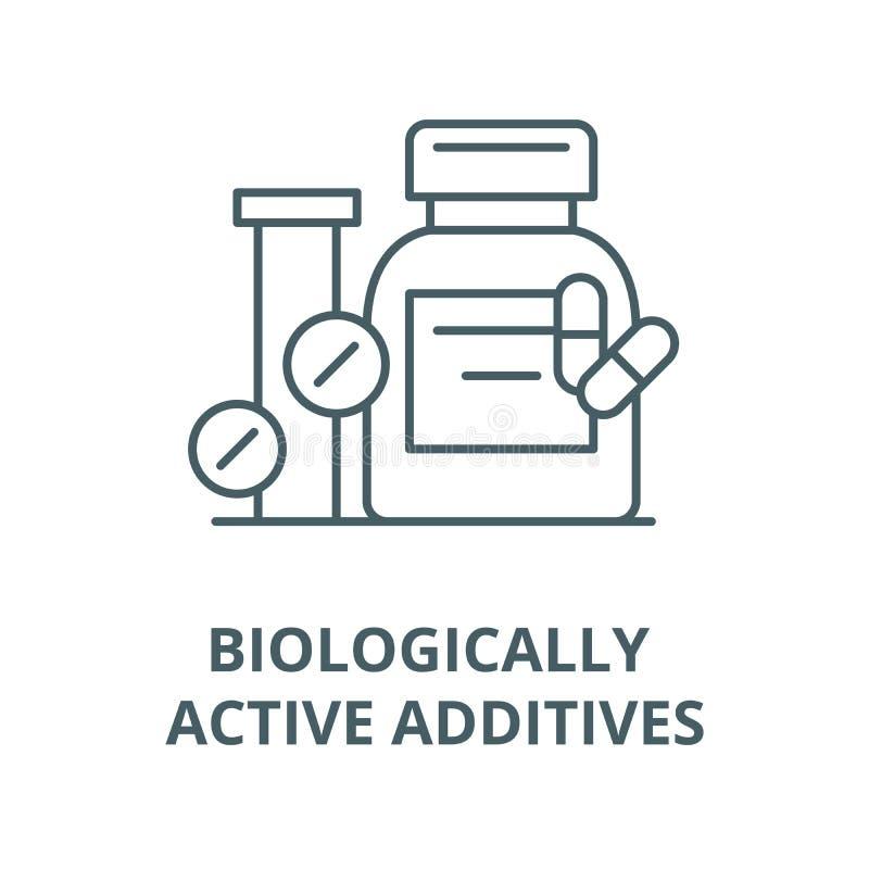 Les additifs biologiquement actifs dirigent la ligne icône, concept linéaire, signe d'ensemble, symbole illustration stock