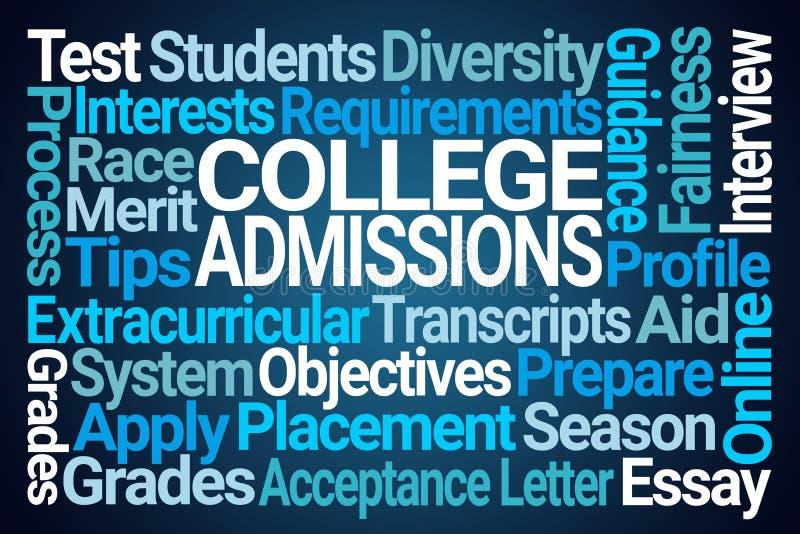 Les admissions à l'université expriment le nuage illustration libre de droits