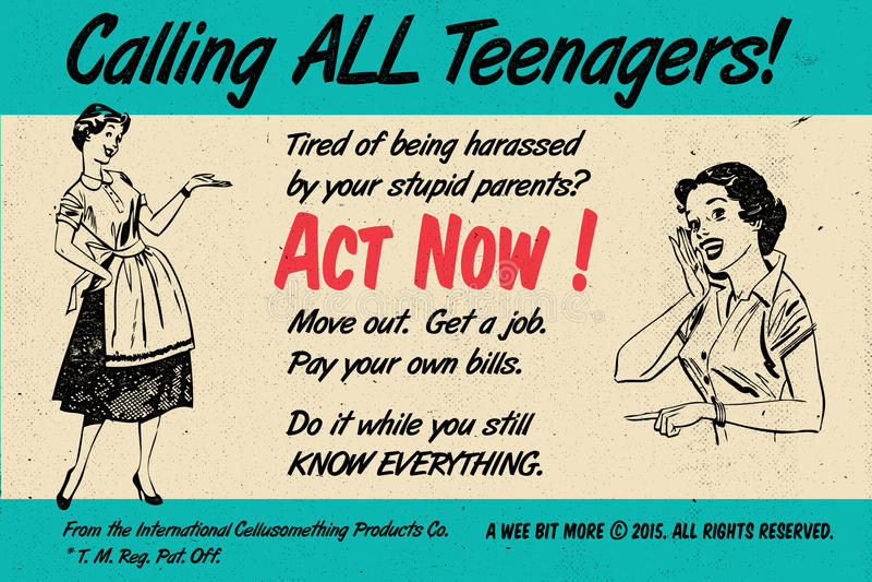 Les adolescents agissent maintenant ! Rétro affiche de vintage illustration libre de droits