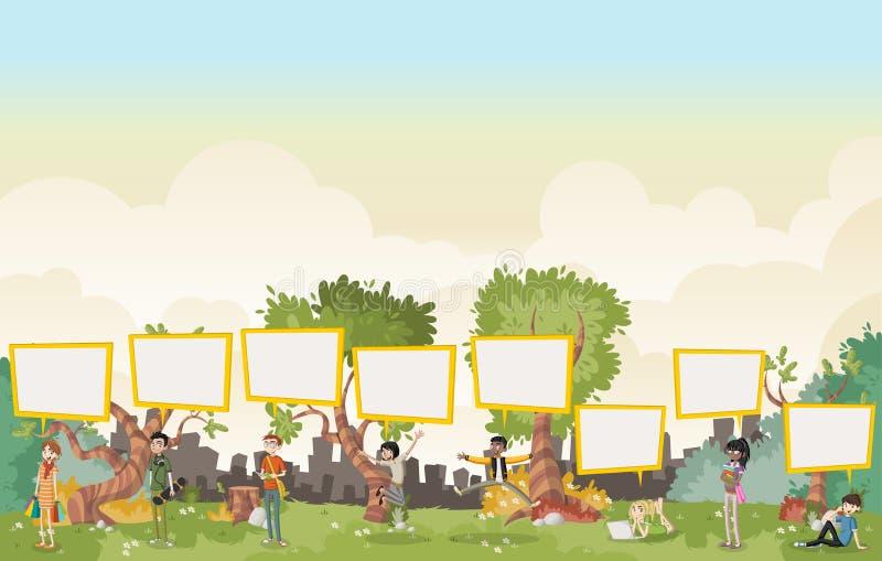 Les adolescents de bande dessinée parlant avec la parole bouillonne dedans sur le beau parc illustration libre de droits