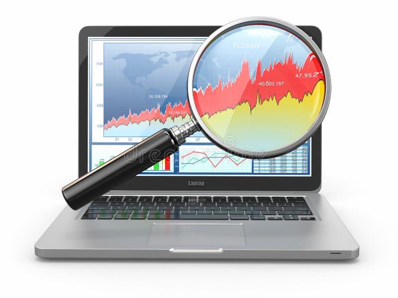 Les affaires analysent. Ordinateur portable, loupe et tableau sur l'écran illustration de vecteur