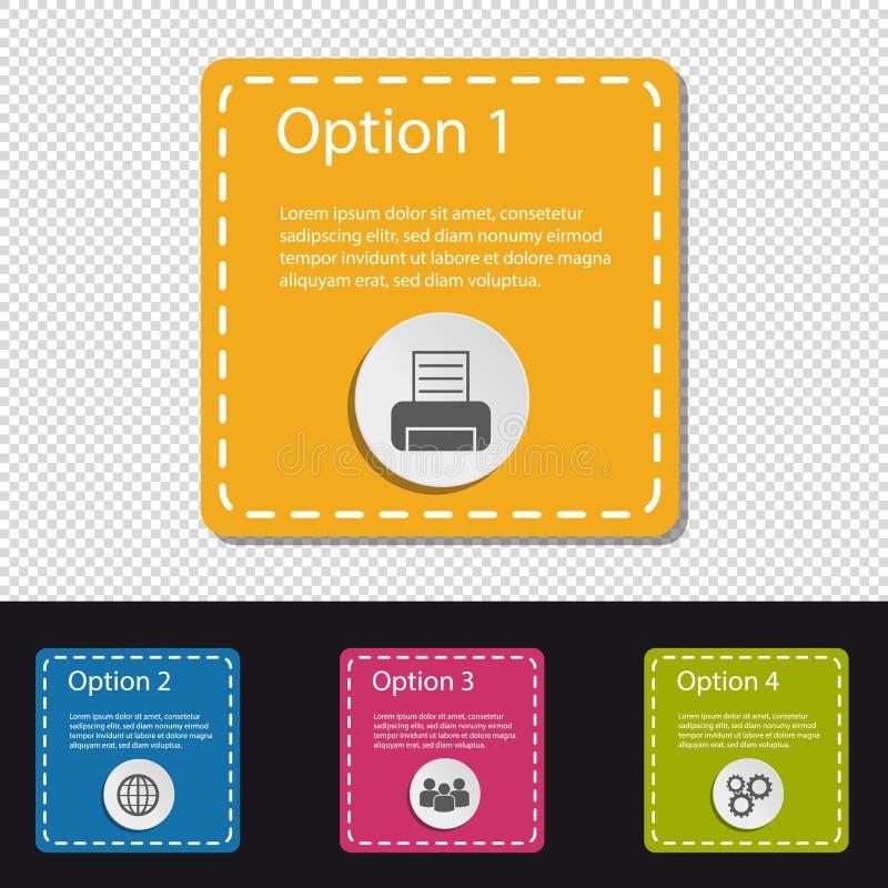 Les affaires carrées colorées de quatre Infographic boutonnent - imprimante, monde, les gens, vitesses - l'illustration de vecteu illustration stock
