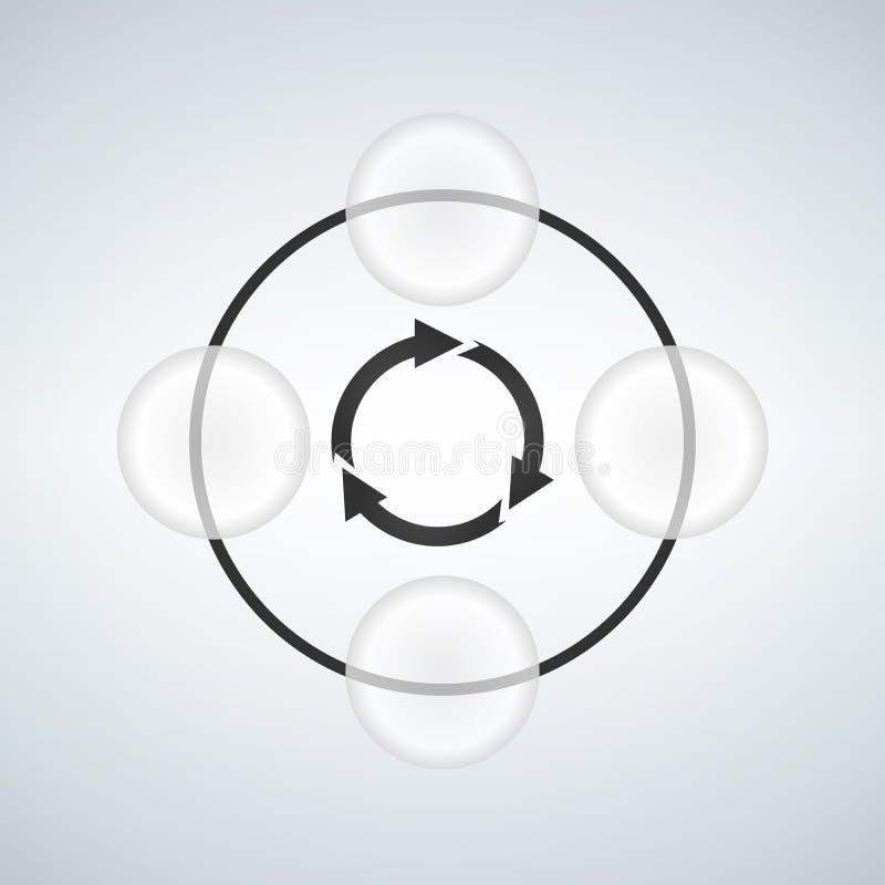 Les affaires d'Infographic ont lié des diagrammes de cercle avec quatre bulles illustration libre de droits