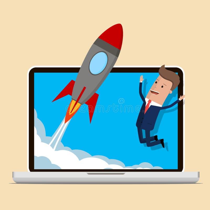 Les affaires de regard heureuses d'homme d'affaires mettent en marche la fusée L'homme d'affaires travaillant à des affaires comm illustration libre de droits