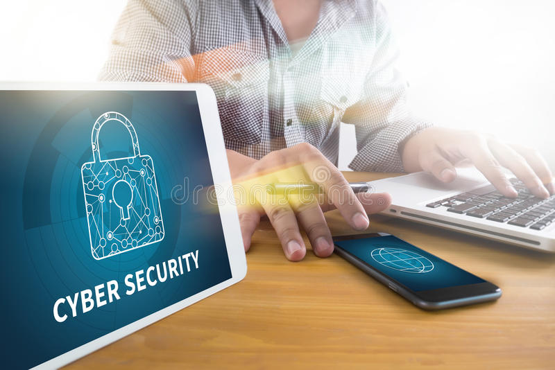 Les affaires de SÉCURITÉ de CYBER, la technologie, l'Internet et la mise en réseau escroquent images libres de droits