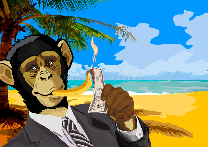 Les affaires de singe marquent la nouvelle année avec une banane photo libre de droits