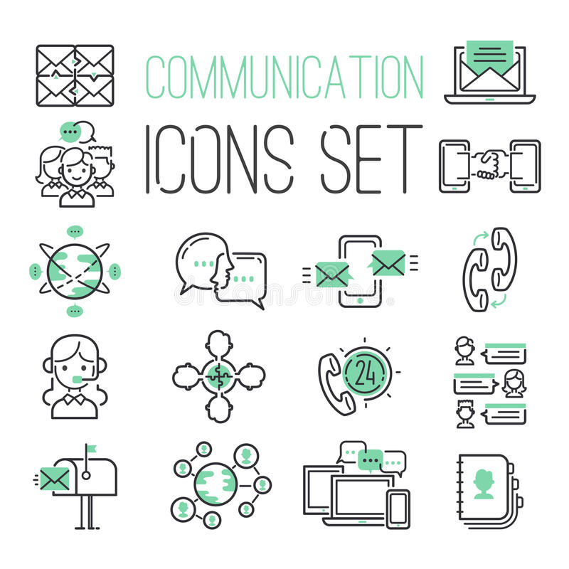 Les affaires de symboles et de media de contact de réseau informatique de vert de noir de Web d'Internet de media téléphonent la  illustration de vecteur