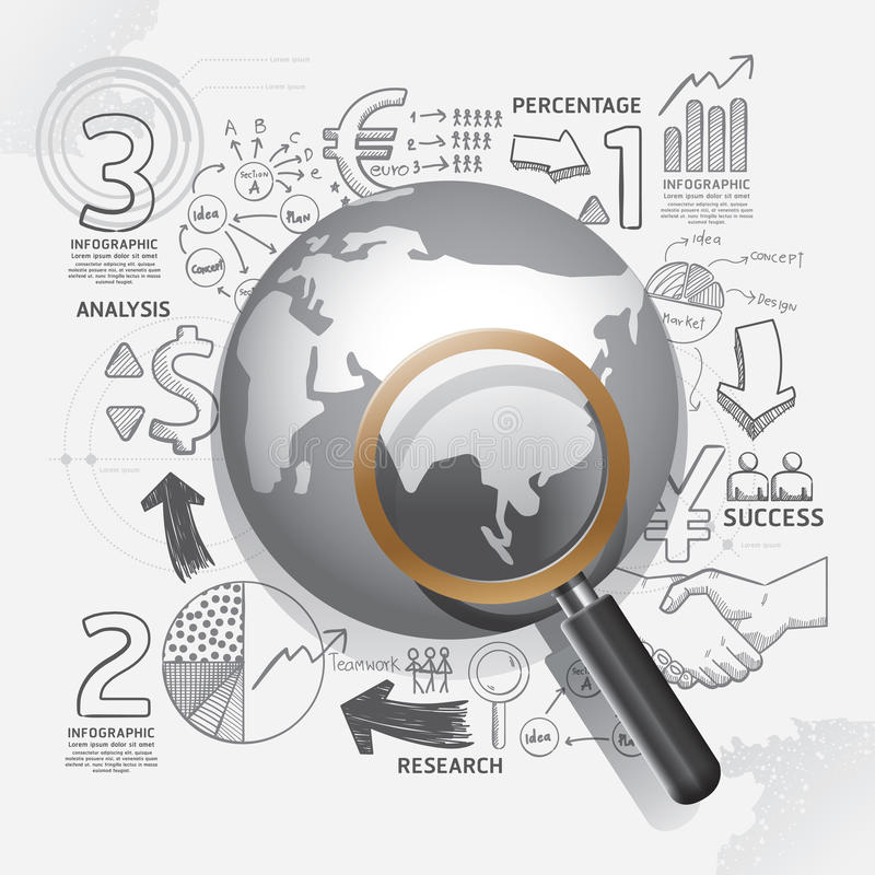 Les affaires du monde gribouillent idée de plan de stratégie de succès de dessin au trait illustration stock