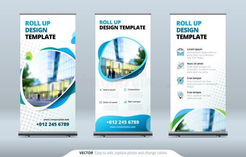 Les affaires enroulent le support de bannière Concept de présentation Modernes abstraits enroulent le fond Vertical enroulez le c illustration stock
