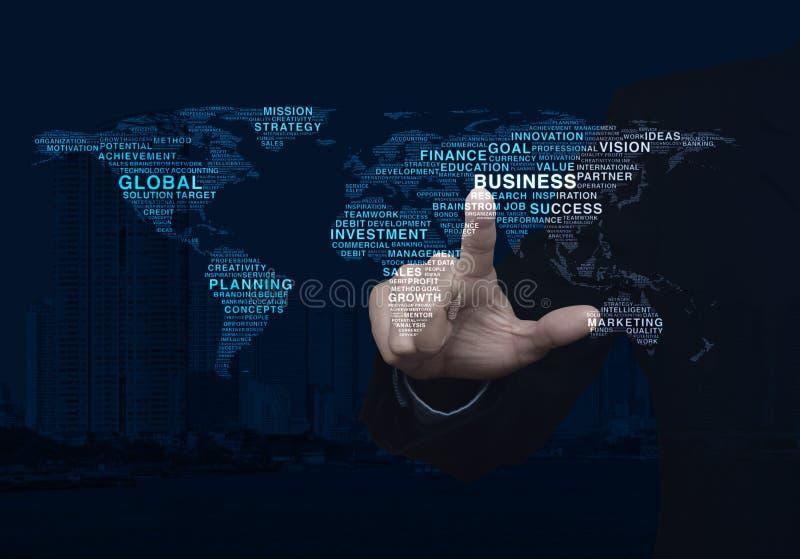 Les affaires globales expriment la carte du monde, éléments de ce furnishe d'image images stock