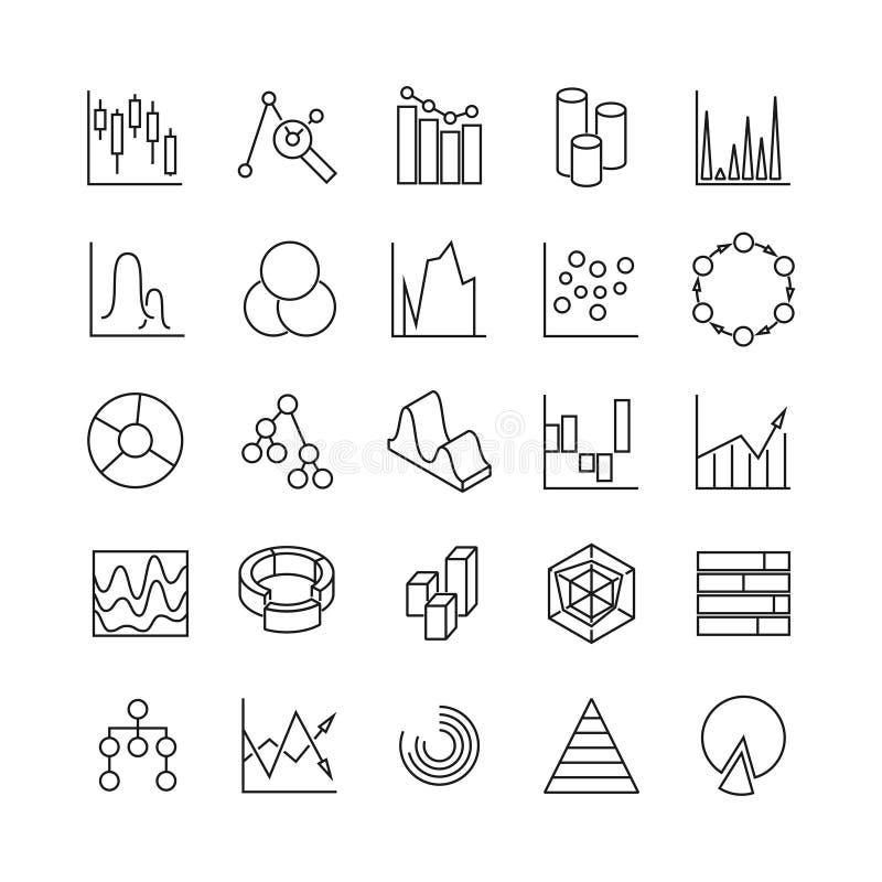 Les affaires infographic financières de diagrammes et de statistiques diagrams la ligne icônes de vecteur Poctograms analytiques  illustration libre de droits