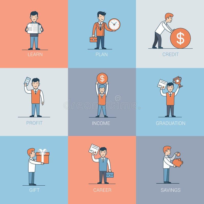 Les affaires plates linéaires apprennent le vecteur de bénéfice de crédit illustration de vecteur