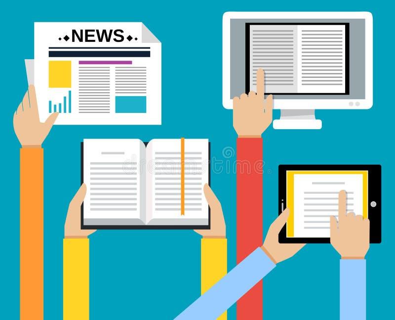 Les affaires remettent le concept de lecture illustration stock