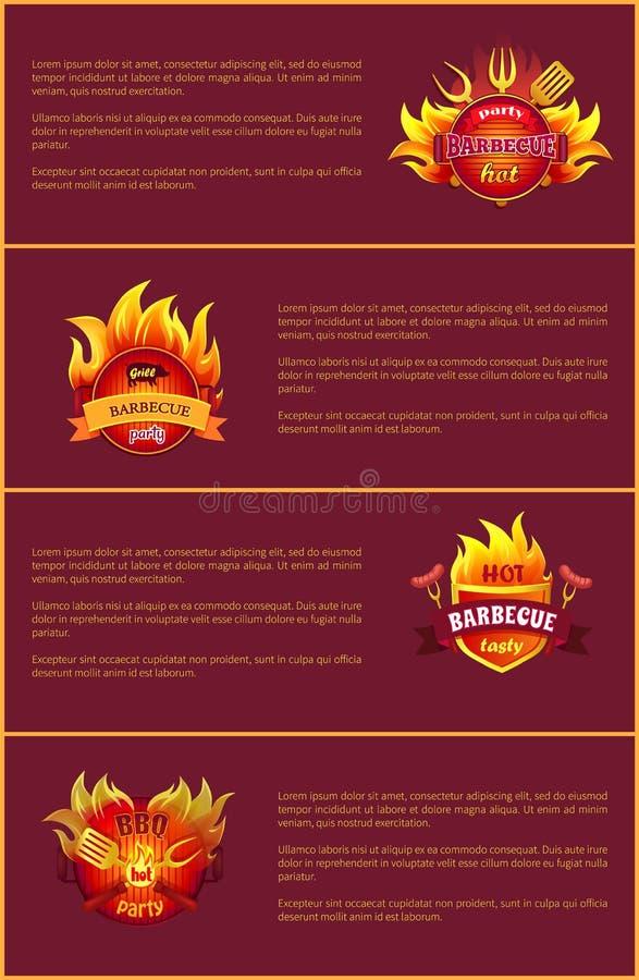 Les affiches chaudes de vecteur de partie de barbecue ont placé des insignes de brûlure illustration stock