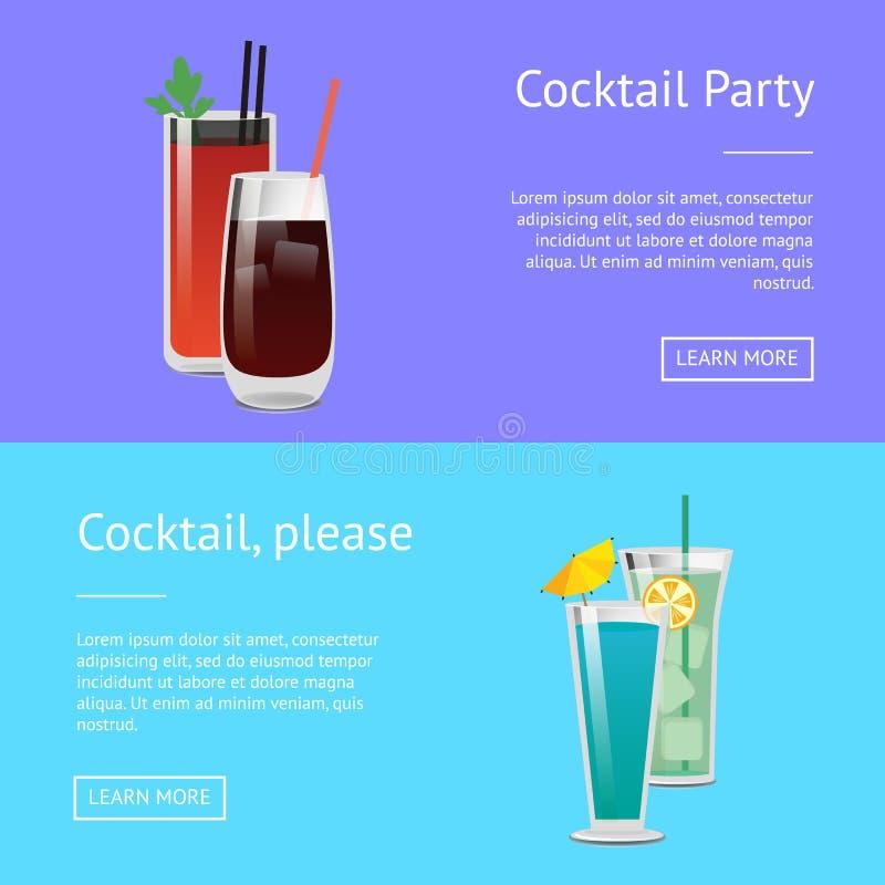 Les affiches de cocktail ont placé Mary Whiskey Web ensanglantée illustration libre de droits