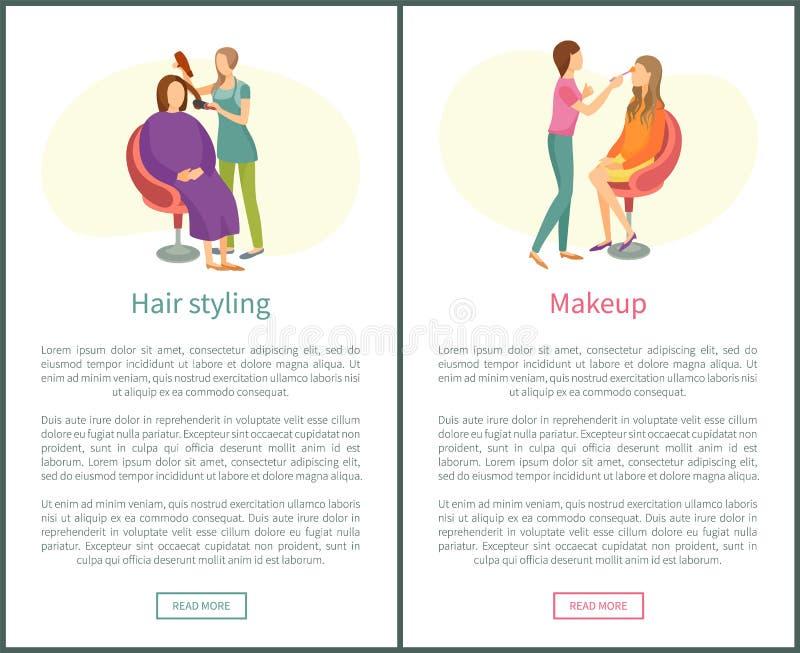 Les affiches de dénommer et de maquillage de cheveux ont placé le salon de station thermale des textes illustration libre de droits