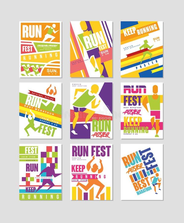 Les affiches de fest de course ont placé, courant l'élément coloré de conception de marathon, de sport et de concurrence pour la  illustration libre de droits