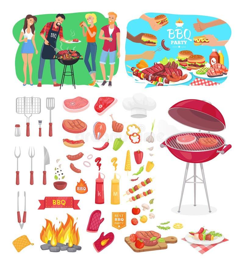 Les affiches et les icônes de partie de BBQ dirigent l'illustration illustration de vecteur