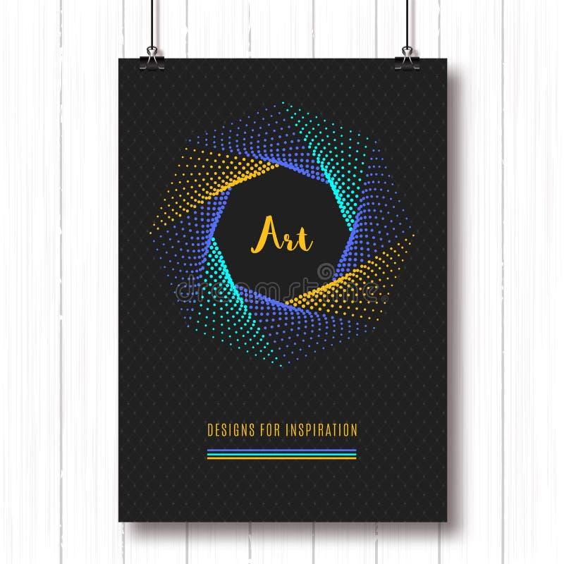 Les affiches polygonales géométriques A4 Colorfull de modèle tramé du Pentagone forme 3d illustration stock