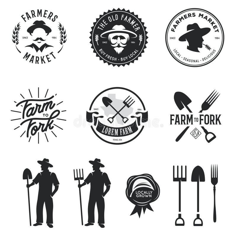 Les agriculteurs lancent l'ensemble sur le marché d'emblèmes d'insignes de labels Illustration de vintage de vecteur illustration stock