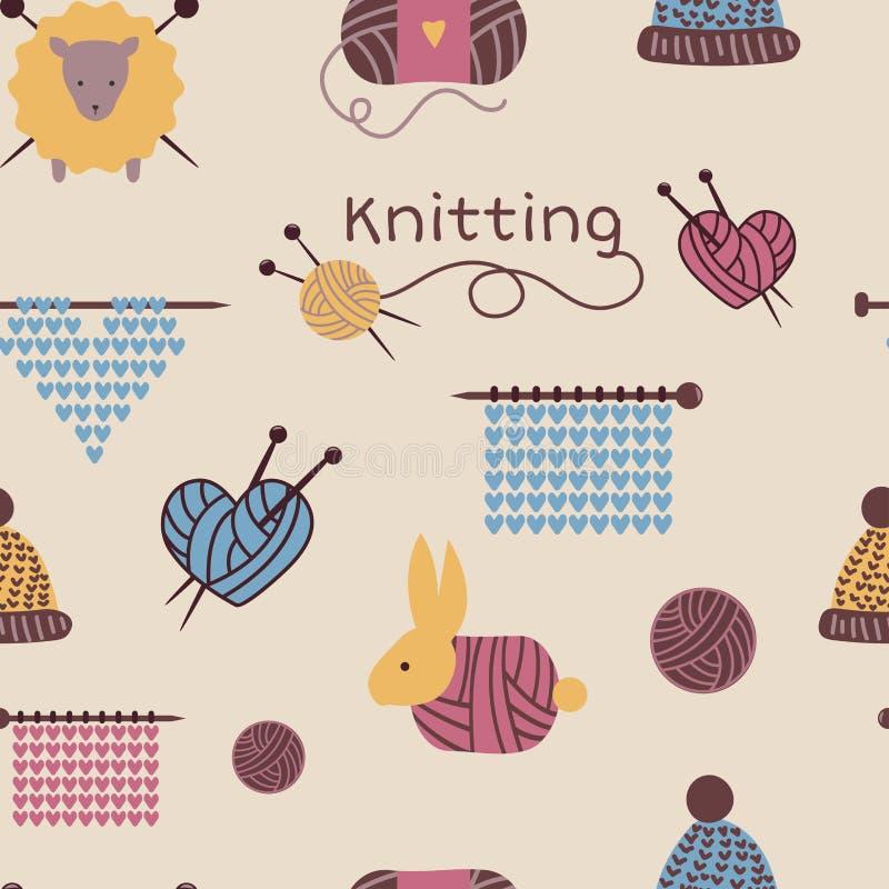 Les aiguilles de tricotage modèlent le fond sans couture de tricots de laine de vecteur ou faire du crochet de laine tricoté de l illustration libre de droits