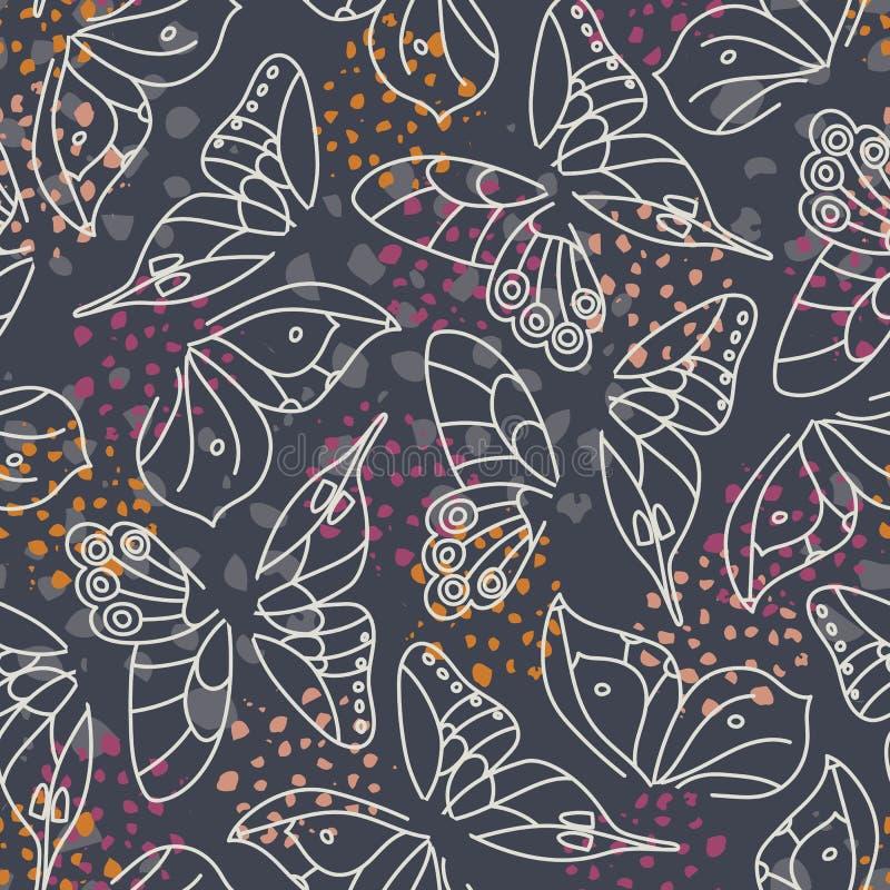 Les ailes blanches abstraites de papillon sur le fond gris-foncé avec des accents colorés dirigent le modèle sans couture Texture illustration libre de droits