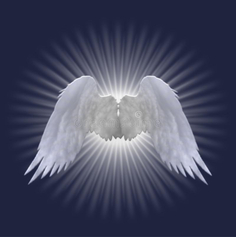 Les ailes blanches d'ange conçoivent sur le fond bleu-foncé illustration de vecteur