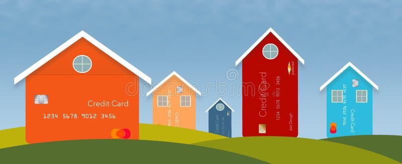 Les améliorations de l'habitat, les factures de service public et les dépenses de réparation peuvent finir sur votre carte de cré illustration de vecteur