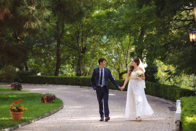 Les amants heureusement et marchent heureusement le long de l'allée en parc dense vert, communiquent et rient leur jour du mariag photo libre de droits