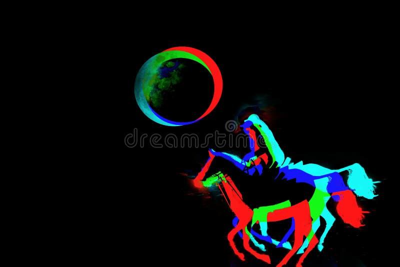 Les amazones colorées emballent vers la pleine lune image libre de droits