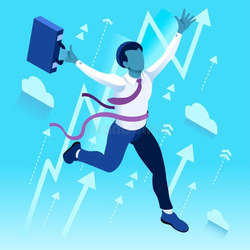 Les ambitions ambitieuses de carrière du changement 43 d'affaires dirigent le concept illustration de vecteur