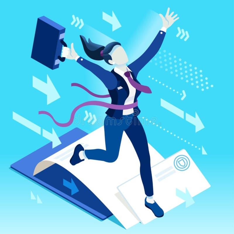 Les ambitions ambitieuses de carrière du changement 87 d'affaires dirigent le concept illustration de vecteur