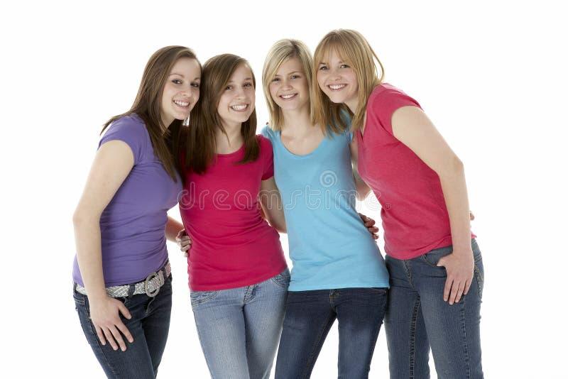 les amies groupent d'adolescent photographie stock libre de droits