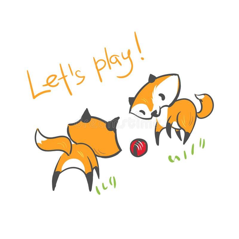 Les amis de jeu de bébé de renard de caractère de vecteur impriment illustration stock