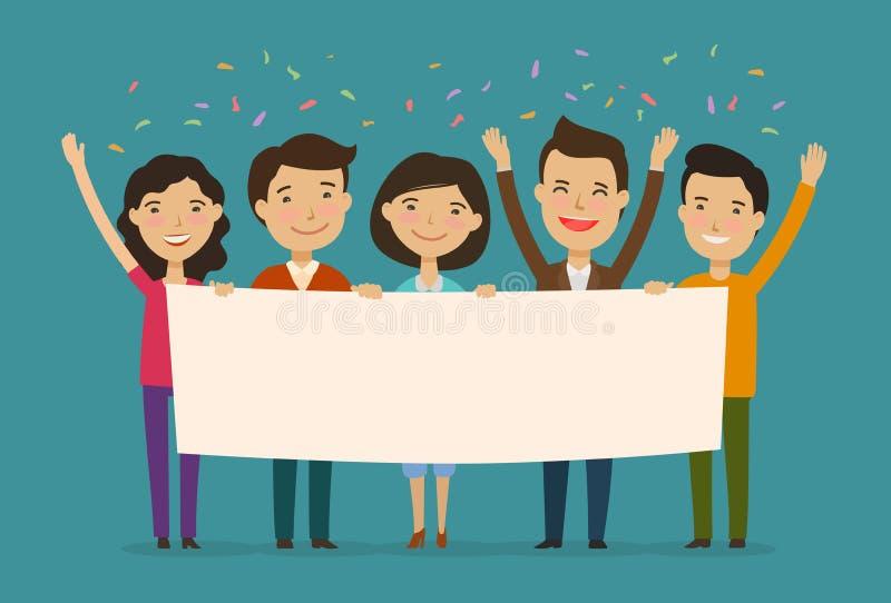 Les amis félicitent en vacances Félicitation, concept de félicitation Illustration de vecteur de dessin animé illustration libre de droits